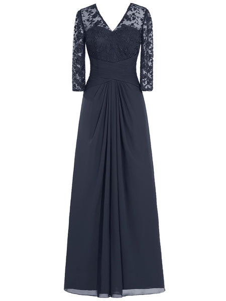 A-Line/Princess V-Neck Long Sleeves Chiffon Floor Length Mother of the Bride Dress with Lace