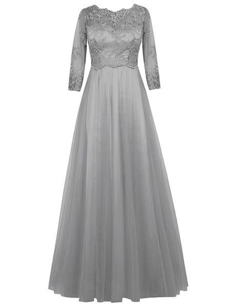 A-Line/Princess Scoop Long Sleeves Tulle Floor Length Mother of the Bride/Groom Dress with Lace