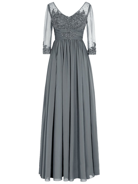 A-Line/Princess Scoop Long Sleeves Chiffon Floor Length Mother of the Bride Dress with Applique