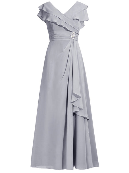 A-Line/Princess V-Neck Cap Sleeves Chiffon Floor Length Mother of the Bride Dress with Rhinestone