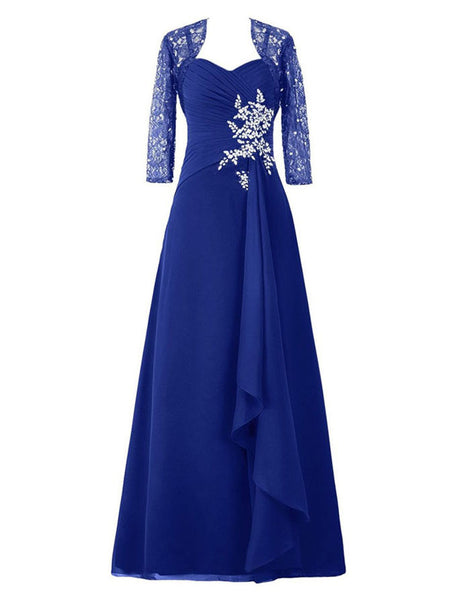 A-Line/Princess Sweetheart 3/4 Sleeves Chiffon Floor Length Mother of the Bride Dress with Beading Lace