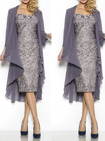Sheath/Column Square Cap Sleeves Lace Knee Length Mother of the Bride/Groom Dress with Shawl