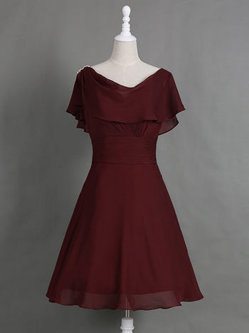 A-Line/Princess Cowl Cap Sleeves Chiffon Knee Length Mother of the Bride Dress with Pleats Ruffles