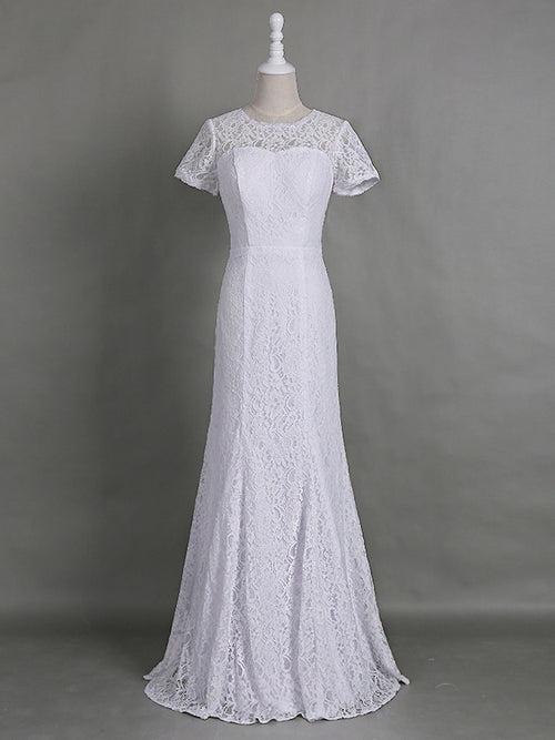 Sheath/Column Jewel Short Sleeves Lace Floor Length Mother of the Bride/Groom Dress with Lace
