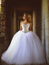 Ball Gown Sweetheart Court Train Sleeveless Tulle Wedding Dress