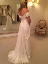 A-Line/Princess Off-the-Shoulder Sweep/Brush Train Sleeveless Chiffon Bridal Dress with Ruffles