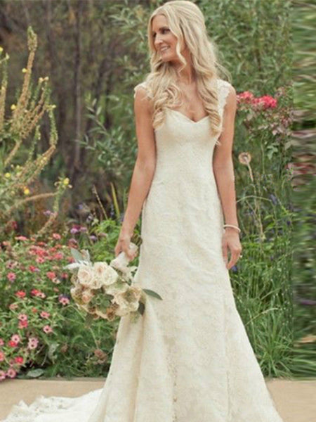 Trumpet/Mermaid V-neck Sweep/Brush Train Sleeveless Wedding Dress