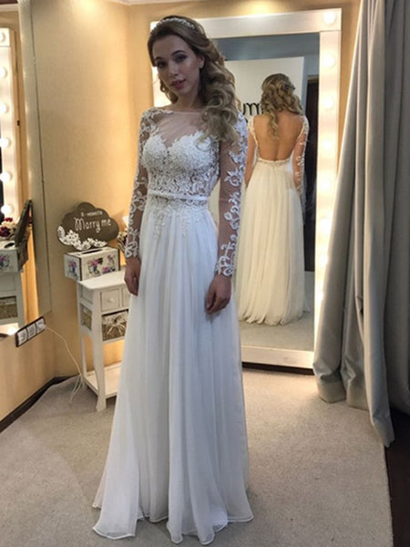 A-Line/Princess Bateau Floor-Length Long Sleeves Chiffon Wedding Dress with Lace