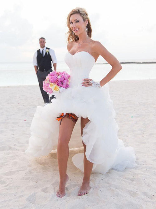 A-Line/Princess Sweetheart Asymmetrical Sleeveless Organza Beach Bridal Gown