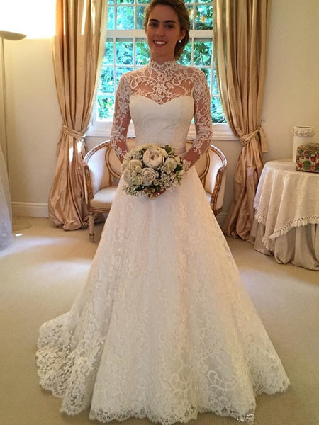 Ball Gown High Neck Court Train Long Sleeves Lace Bride Dress with Lace