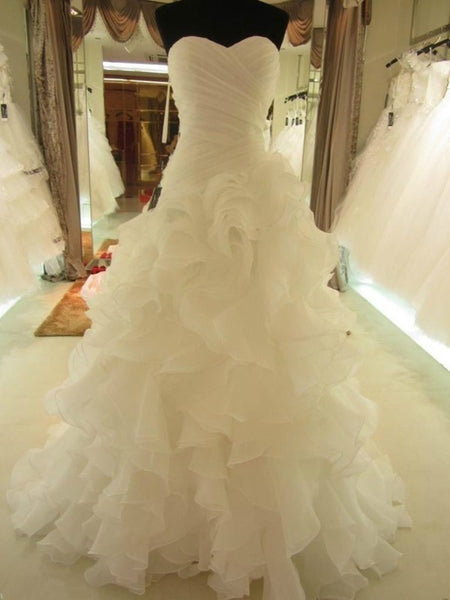 Ball Gown Sweetheart Court Train Sleeveless Organza Wedding Dress with Ruffles