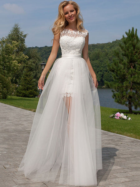 Sheath/Column Scoop Floor-Length Sleeveless Tulle Bridal Gown with Lace