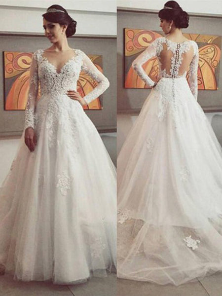 Ball Gown V-neck Court Train Long Sleeves Tulle Wedding Dress with Lace