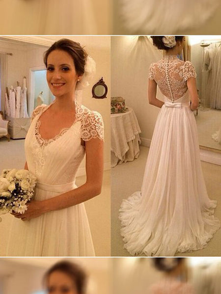 A-Line/Princess V-neck Sweep/Brush Train Sleeveless Chiffon Bride Dress with Lace