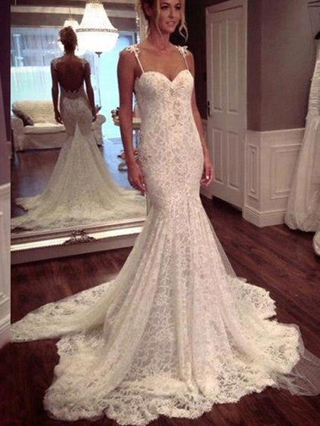 Trumpet/Mermaid Spaghetti Straps Court Train Sleeveless Bridal Gown with Lace