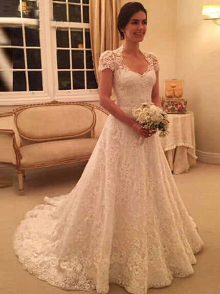 A-Line/Princess Sweetheart Court Train Short Sleeves Wedding Dress with Lace