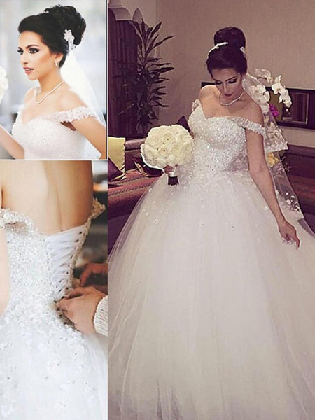Ball Gown Off-the-Shoulder Court Train Sleeveless Tulle Bridal Gown with Lace