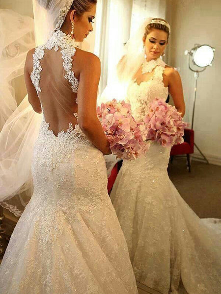 Trumpet/Mermaid High Neck Court Train Sleeveless Bride Dress with Lace