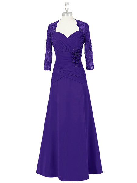 A-Line/Princess Sweetheart Half Sleeves Chiffon Floor Length Mother of the Bride Dress with Jacket