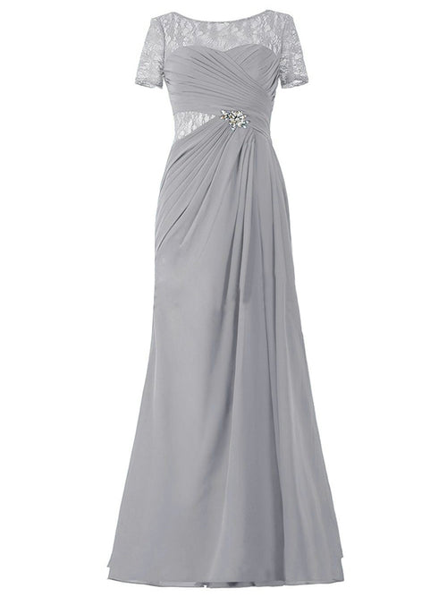 A-Line/Princess Scoop Short Sleeves Chiffon Floor Length Mother of the Bride Dress with Illusion