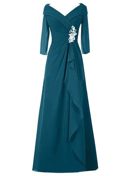 A-Line/Princess V-Neck Long Sleeves Chiffon Floor Length Mother of the Bride/Groom Dress with Ruched
