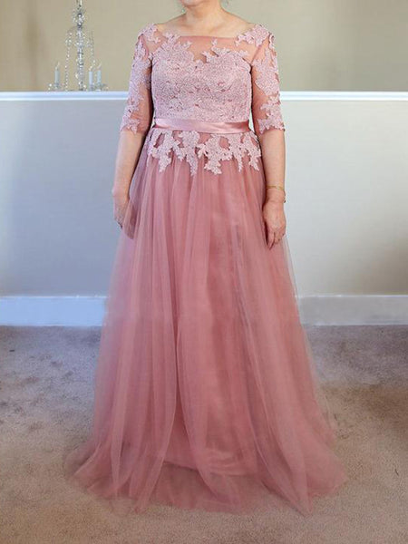 A-Line/Princess Bateau Half Sleeves Floor Length Tulle Plus Size Mother of the Bride Dress with Applique