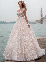 A-Line/Princess Scoop Court Train Cap Sleeves Tulle Wedding Dress with Lace Applique