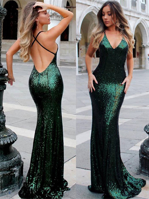 415e0350 ... Trumpet/Mermaid Halter Sleeveless Sweep/Brush Train Sequins Prom Formal  Dress with Ruffles
