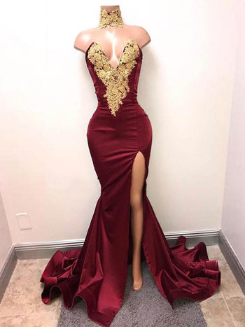 Trumpet/Mermaid V-neck Sleeveless Sweep/Brush Train Satin Split Dress with Applique Lace