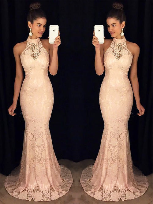 Trumpet/Mermaid High Neck Sleeveless Sweep/Brush Train Lace Prom Formal Dress with Ruffles