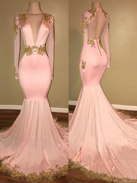 Trumpet/Mermaid V-Neck Sweep/Brush Train Long Sleeves Prom Evening Dress with Applique