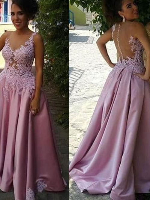 A-Line/Princess Sheer Neck Sweep/Brush Train Satin Sleeveless Prom Evening Dress with Applique