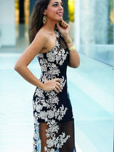 Sheath/Column One-Shoulder Sweep/Brush Train Lace Sleeveless Prom Evening Dress with Applique