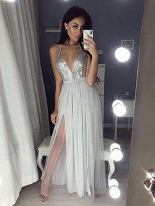 A-Line/Princess V-neck Floor-Length Chiffon Sleeveless Backless Prom Evening Dress with Slit