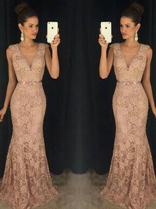 Trumpet/Mermaid V-neck Sweep/Brush Train Lace Sleeveless Prom Evening Formal Dress