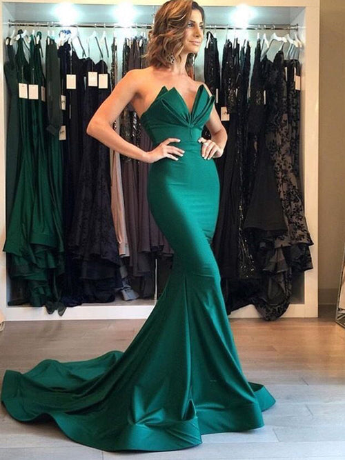 Trumpet/Mermaid V-neck Court Train Satin Prom Evening Formal Dress