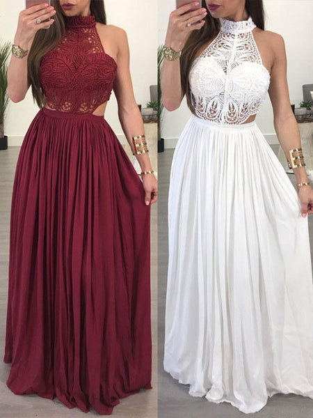 A-Line/Princess Halter Floor Length Chiffon Two Piece Prom Evening Dress with Lace