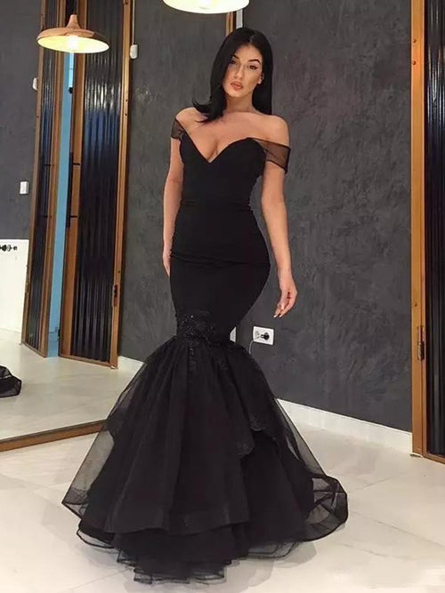 Trumpet/Mermaid Off-the-Shoulder Sweep/Brush Train Tulle Prom Evening Dress with Ruffles