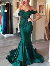 Trumpet/Mermaid Off-the-Shoulder Sweep/Brush Train Satin Prom Evening Dress with Ruffles