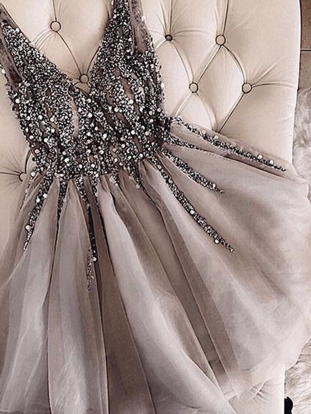 A-Line/Princess V-neck Tulle Sleeveless Short/Mini Homecoming Dress with Sequin