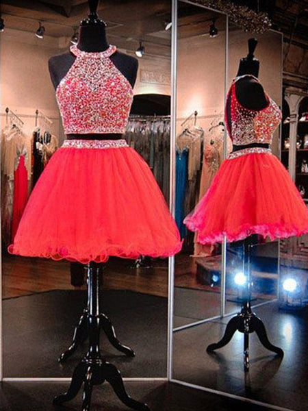 A-Line/Princess Halter Tulle Sleeveless Short/Mini Two Piece Homecoming Dress with Beading