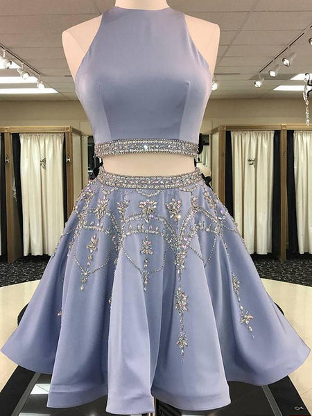 A-Line/Princess Bateau Satin Sleeveless Short/Mini Two Piece Homecoming Dress with Beading