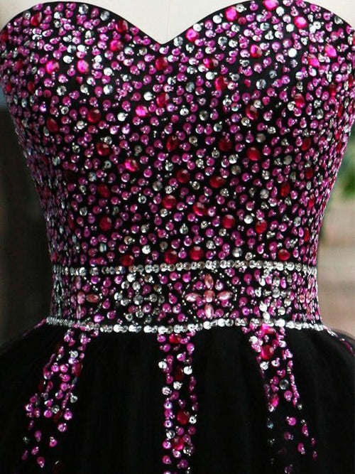 c286424ee548 ... A-Line/Princess Sweetheart Tulle Sleeveless Short/Mini Homecoming Dress  with Beading