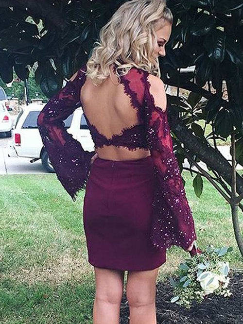 Sheath/Column Scoop Satin Long Sleeves Short/Mini Two Piece Homecoming Dress with Applique