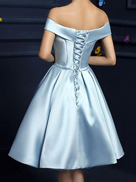 A-Line/Princess Off-the-Shoulder Satin Sleeveless Knee Length Dress with Bowknot