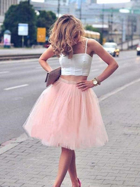 A-Line/Princess Spaghetti Straps Tulle Sleeveless Knee Length 2 Piece Homecoming Dress with Pleats