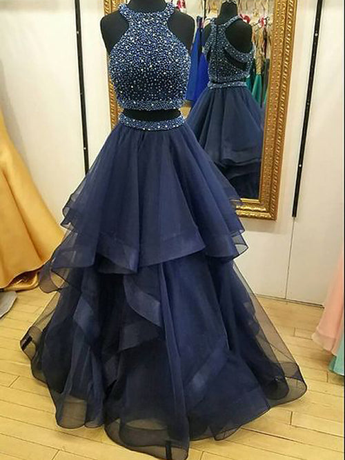 A-Line/Princess Halter Tulle Sleeveless Floor Length Prom Evening Dress with Beading