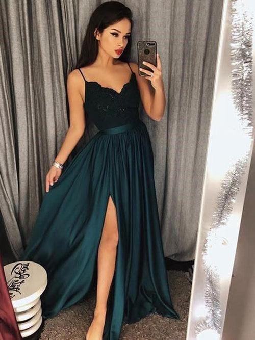 52c0918be25 A-Line Princess Spaghetti Straps Satin Sleeveless Floor Length Prom Dress  with Slit Lace