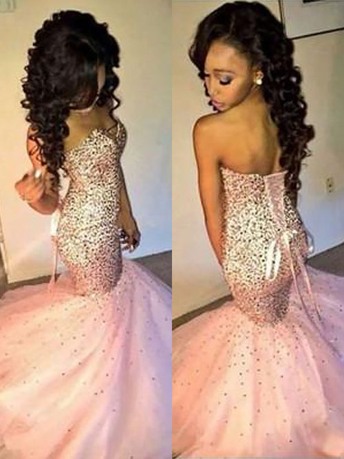 Trumpet/Mermaid Sweetheart Tulle Sleeveless Sweep/Brush Train Prom Evening Dress with Sequin