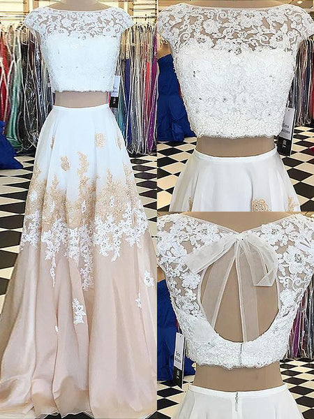 A-Line/Princess Bateau Chiffon Sleeveless Two Piece Floor Length Prom Dress with Lace